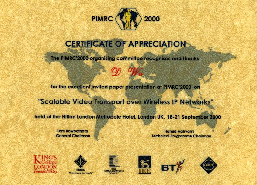 Certificateof appreciation